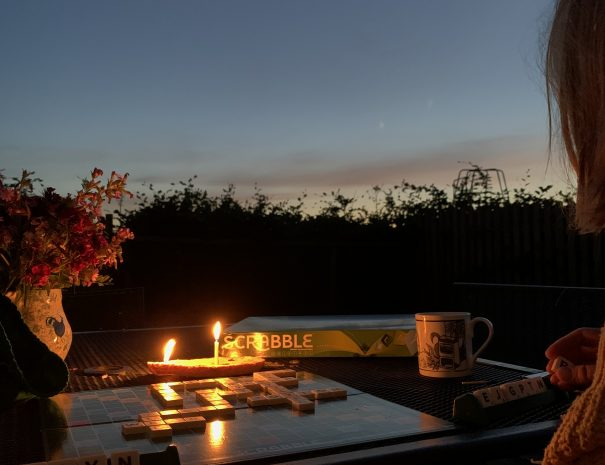 Sunset and scrabble