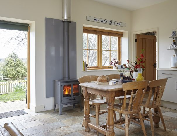 Dining area and wood burning stove