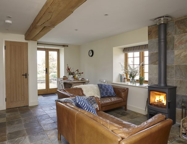 Living area with wood burning stove